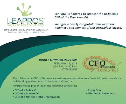 LEAPROS™ Workforce Solutions Sponsors OCBJ CFO of the Year Awards